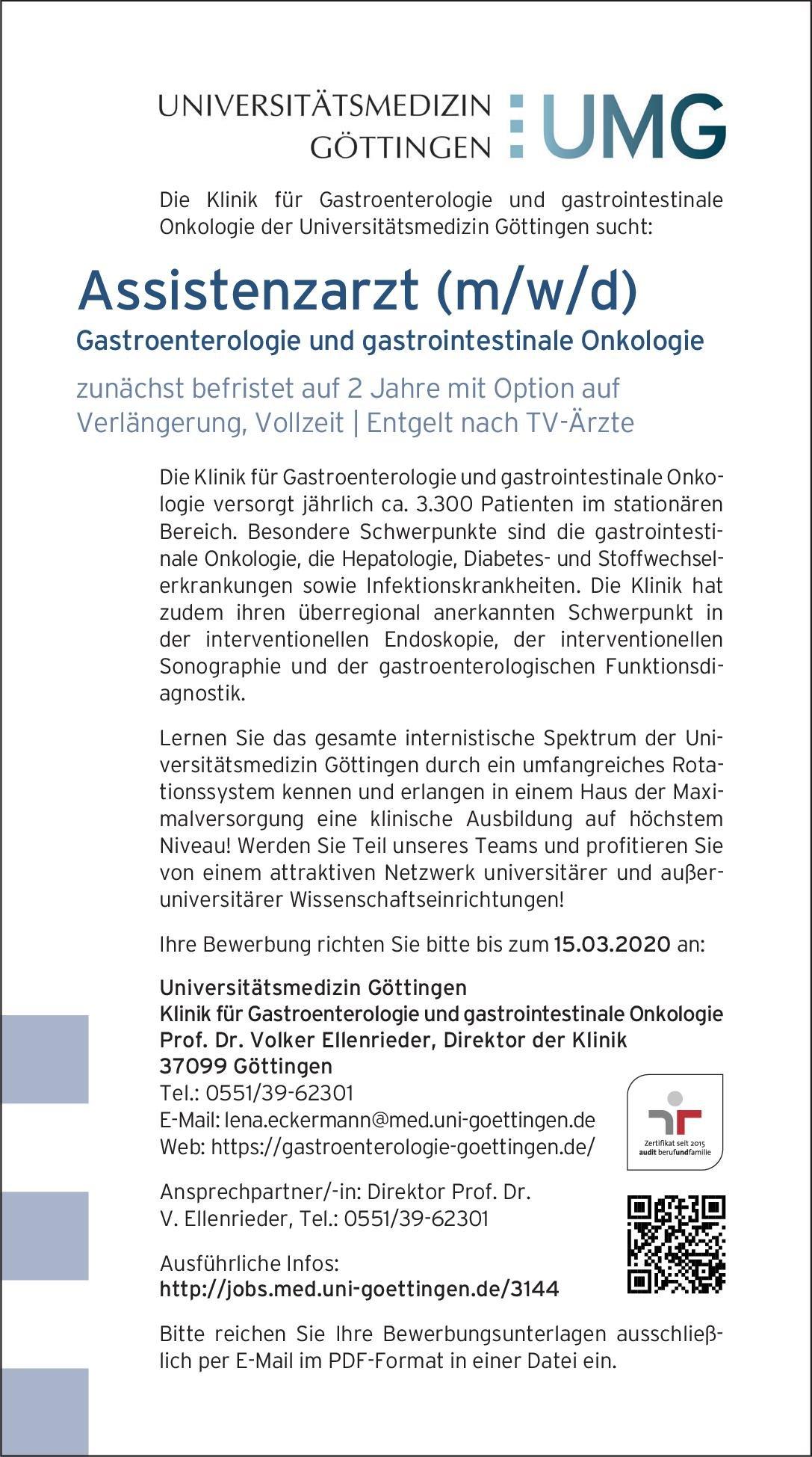 Universitätsmedizin Göttingen Assistenzarzt (m/w/d) Gastroenterologie und gastrointestinale Onkologie  Innere Medizin und Gastroenterologie, Innere Medizin Assistenzarzt / Arzt in Weiterbildung