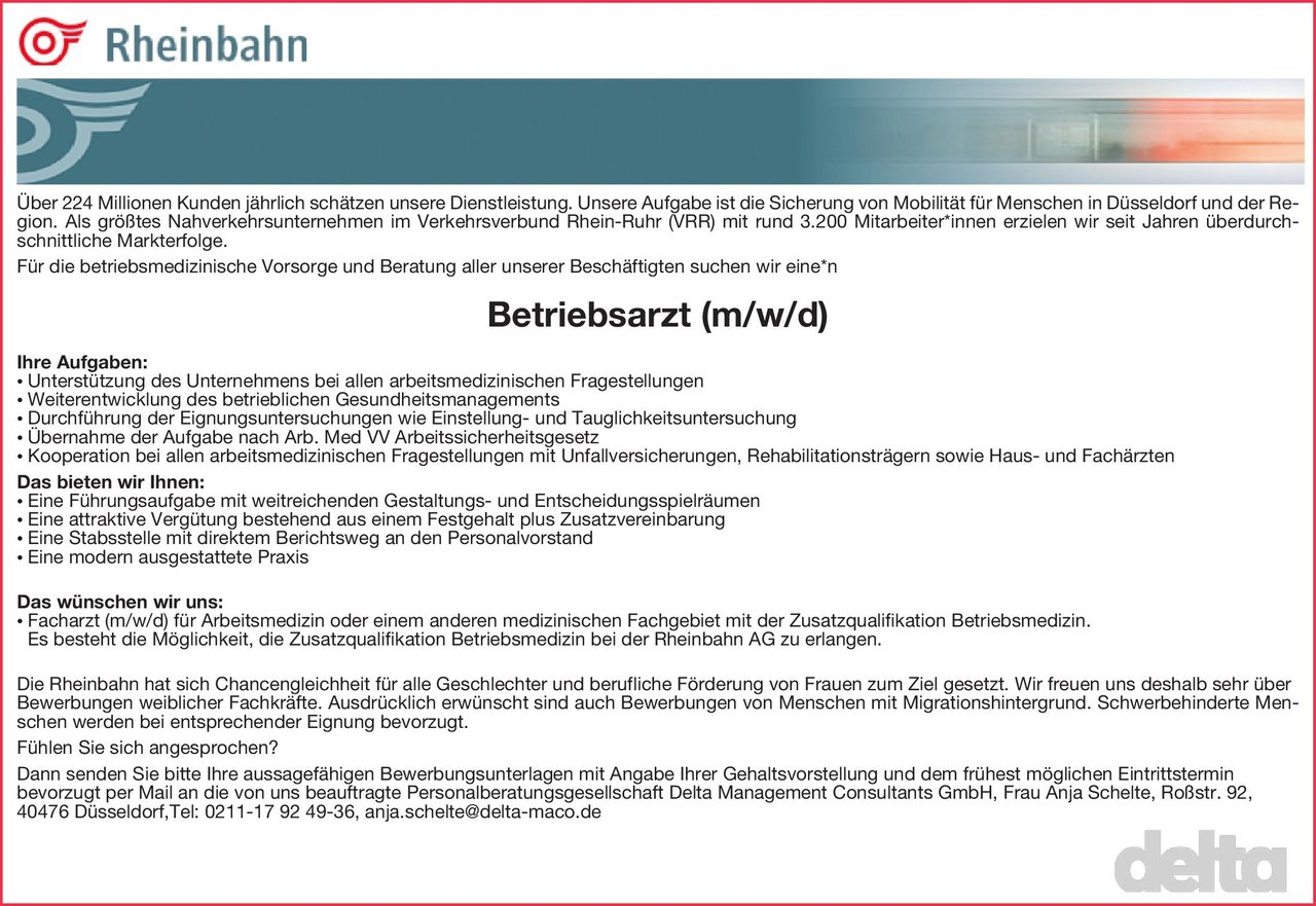 Rheinbahn Betriebsarzt (m/w(d) Arbeitsmedizin Arzt / Facharzt, Betriebsarzt