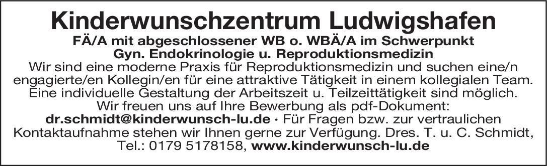 Kinderwunschzentrum Ludwigshafen Facharzt/ärztin für Gyn. Endo. u. Reproduktionsmedizin  Gynäkologische Endokrinologie und Reproduktionsmedizin, Frauenheilkunde und Geburtshilfe Arzt / Facharzt