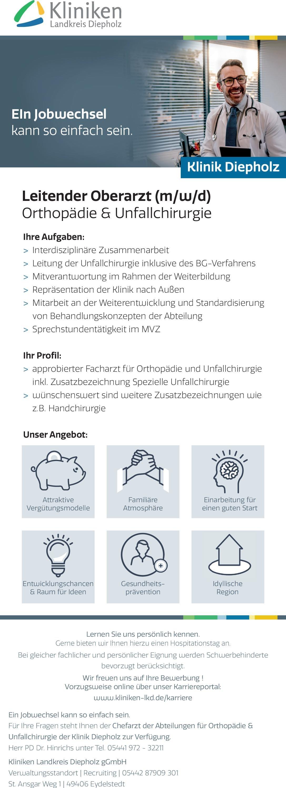 Kliniken Landkreis Diepholz gGmbH Leitender Oberarzt (m/w/d)Orthopädie & Unfallchirurgie  Orthopädie und Unfallchirurgie, Chirurgie Oberarzt