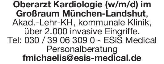 Krankenhaus Oberarzt Kardiologie (w/m/d)  Innere Medizin und Kardiologie, Innere Medizin Oberarzt