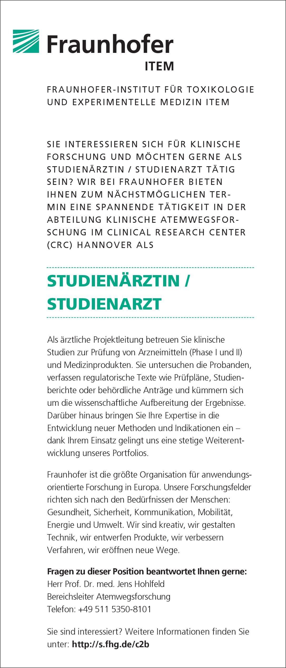 Fraunhofer ITEM Studienärztin / Studienarzt * andere Gebiete Arzt / Facharzt