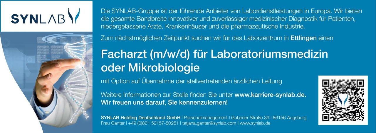 SYNLAB Holding Deutschland GmbH Facharzt (m/w/d) für Laboratoriumsmedizin oder Mikrobiologie Laboratoriumsmedizin, Mikrobiologie und Infektionsepidemiologie Arzt / Facharzt