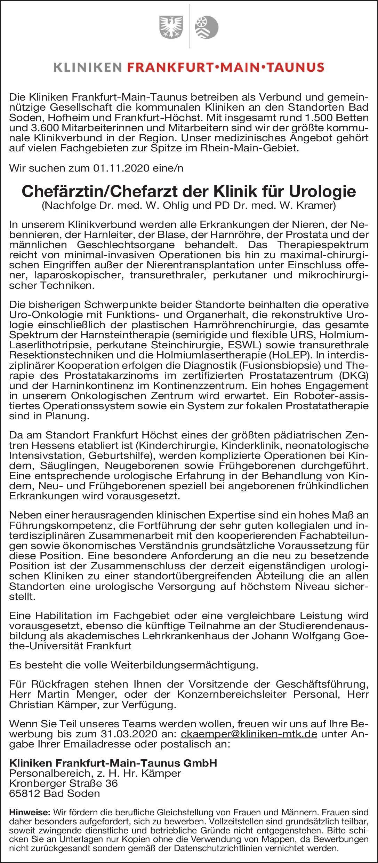 Kliniken Frankfurt-Main-Taunus GmbH Chefärztin/Chefarzt der Klinik für Urologie Urologie Chefarzt