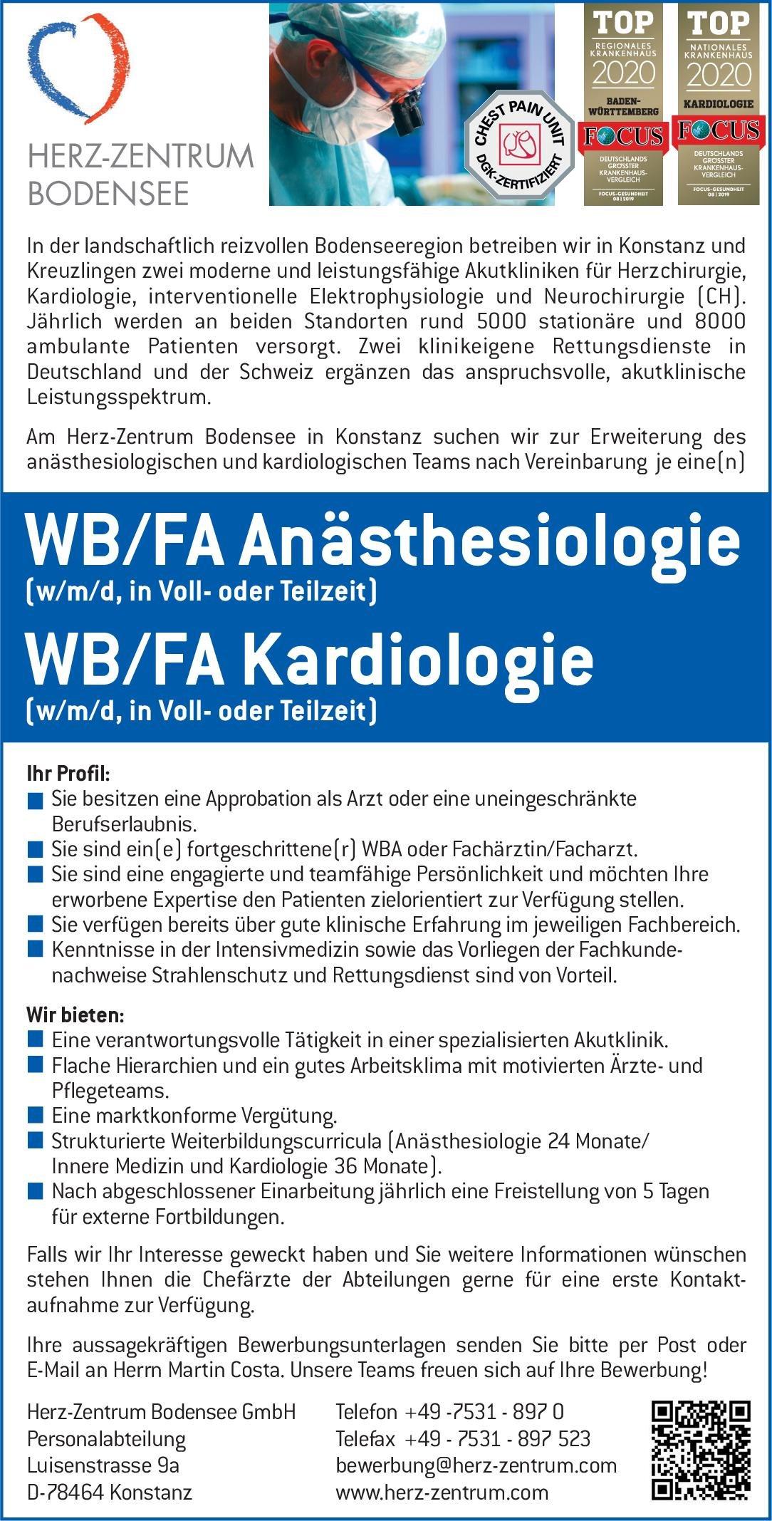 Herz-Zentrum Bodensee WB/FA Kardiologie (w/m/d, in Voll- oder Teilzeit)  Innere Medizin und Kardiologie, Innere Medizin Arzt / Facharzt, Assistenzarzt / Arzt in Weiterbildung