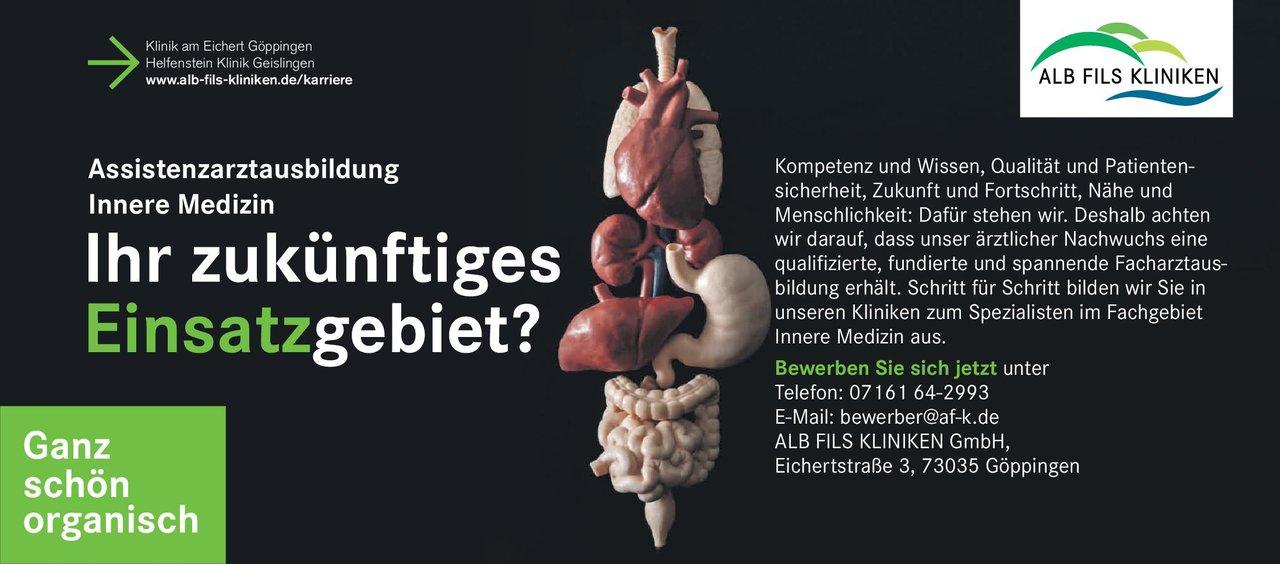 ALB FILS KLINIKEN GmbH Assistenzarztausbildung Innere Medizin  Innere Medizin, Innere Medizin Assistenzarzt / Arzt in Weiterbildung