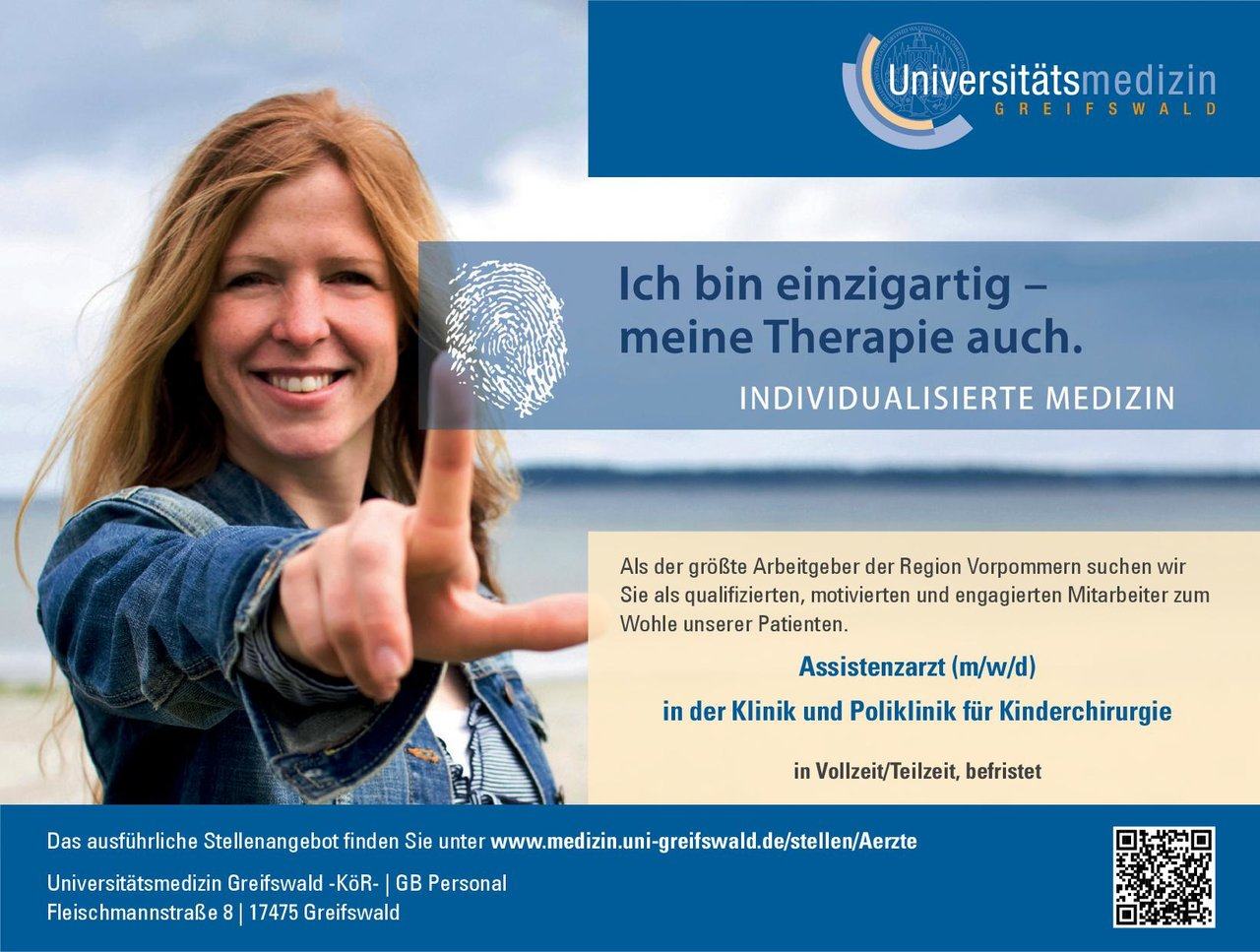 Universitätsmedizin Greifswald -KöR- Assistenzarzt (m/w/d) in der Klinik und Poliklinik für Kinderchirurgie  Kinderchirurgie, Chirurgie Assistenzarzt / Arzt in Weiterbildung