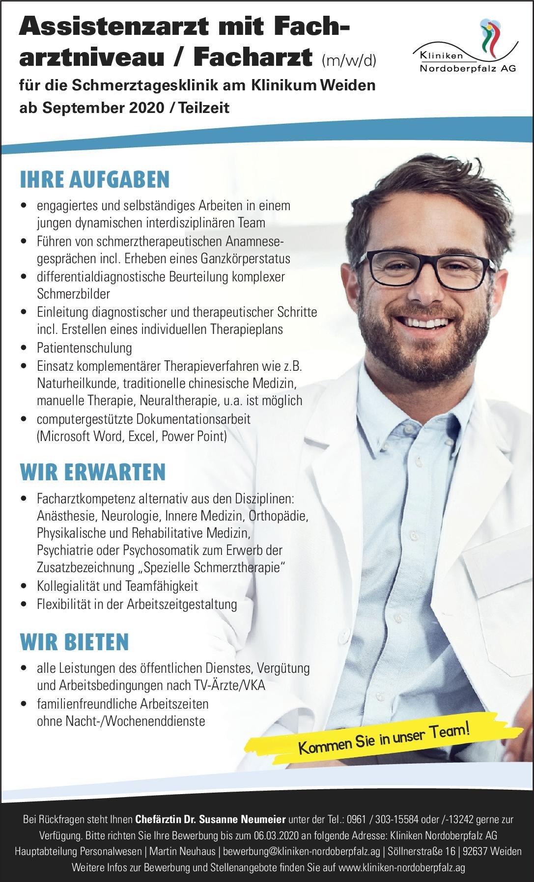Kliniken Nordoberpfalz AG Assistenzarzt mit Facharztniveau/ Facharzt (m/w/d) für die Schmerztagesklinik Anästhesiologie / Intensivmedizin, Innere Medizin, Neurologie Assistenzarzt / Arzt in Weiterbildung