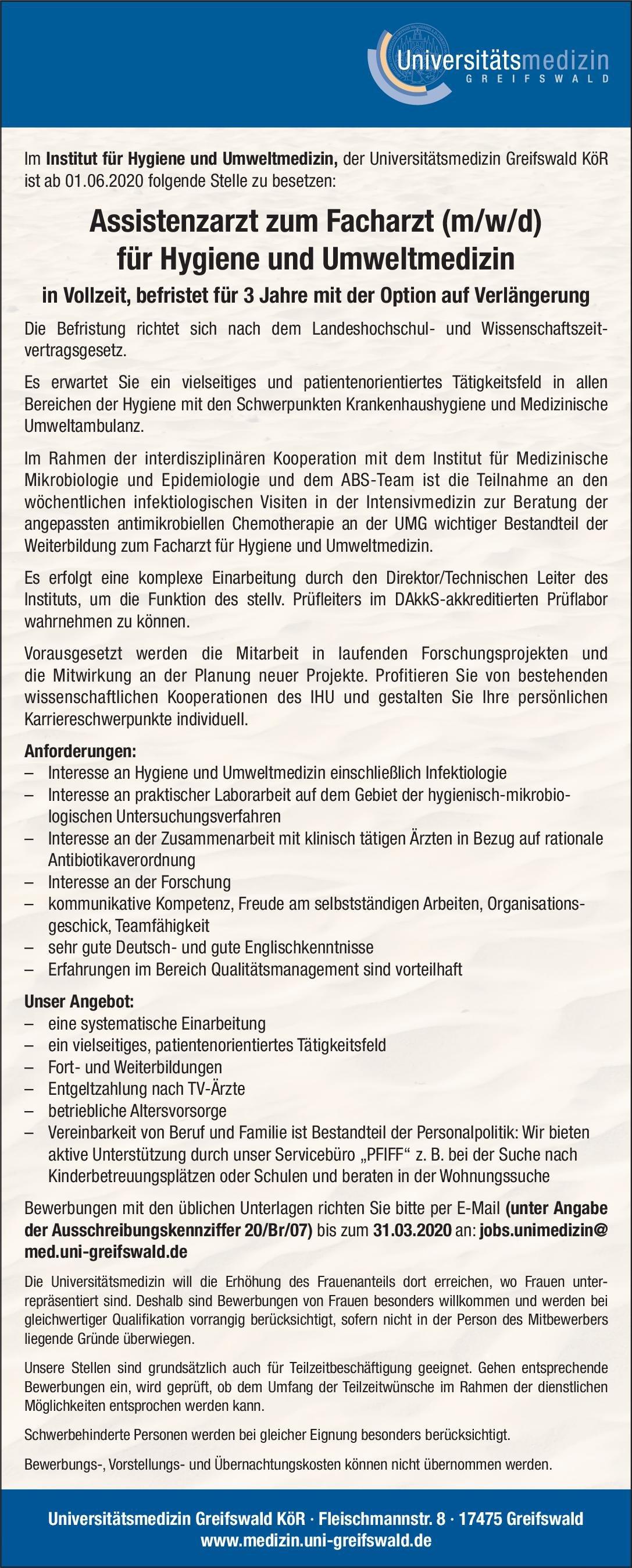 Universitätsmedizin Greifswald KöR Assistenzarzt zum Facharzt (m/w/d) für Hygiene und Umweltmedizin Hygiene- und Umweltmedizin Assistenzarzt / Arzt in Weiterbildung