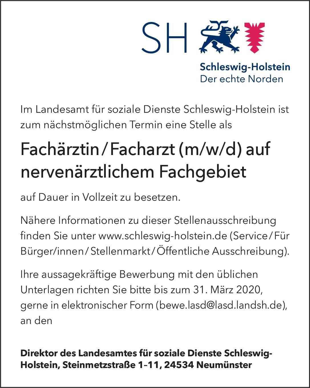 Landesamt für soziale Dienste Schleswig-Holstein Fachärztin/Facharzt (m/w/d) auf nervenärztlichem Fachgebiet  Psychiatrie und Psychotherapie, Neurologie, Psychiatrie und Psychotherapie Arzt / Facharzt