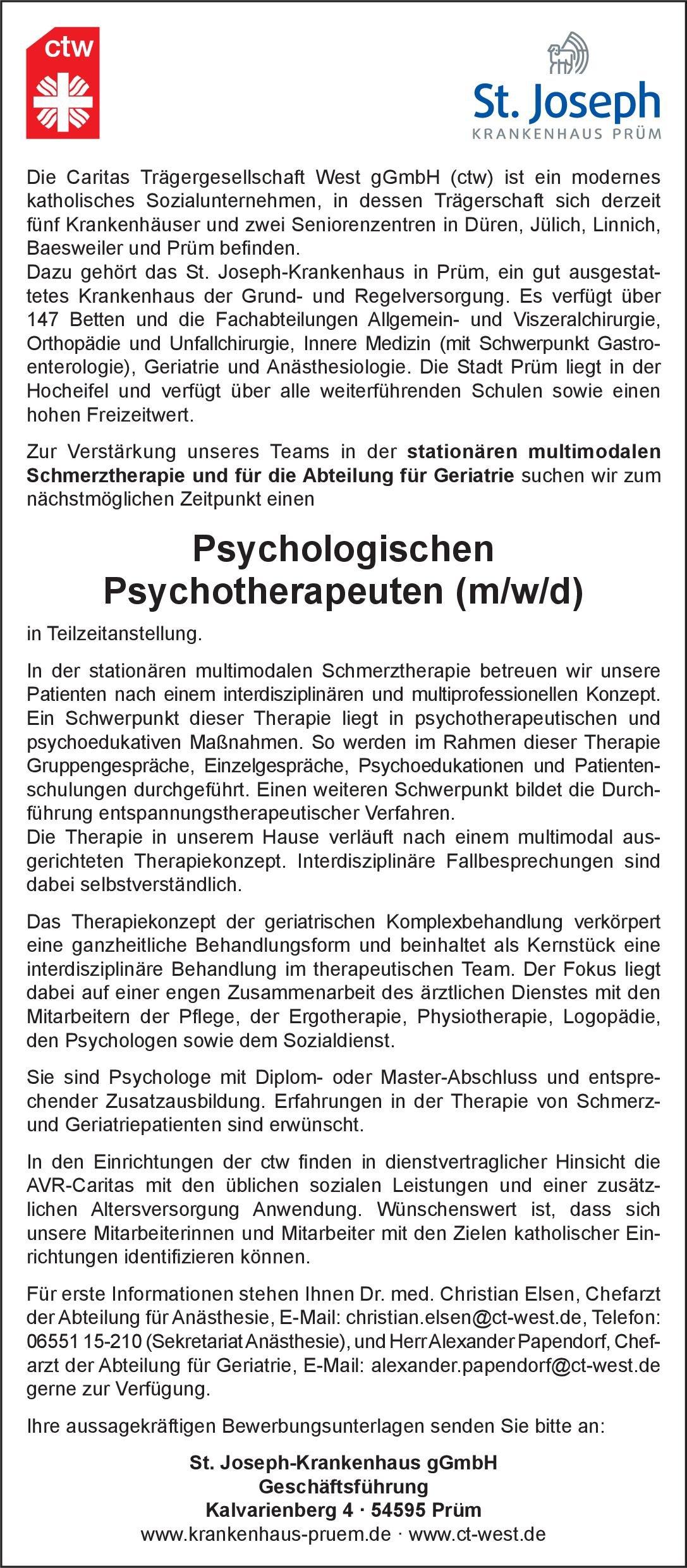 St. Joseph-Krankenhaus gGmbH Psychologischer Psychotherapeut (m/w/d)  Psychiatrie und Psychotherapie, Psychiatrie und Psychotherapie Psych. Psychotherapie