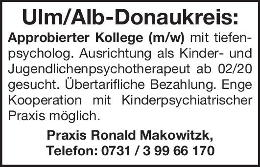 Praxis Ronald Makowitzk Kollege (m/w) Kinder- und Jugendpsychiatrie und -psychotherapie Arzt / Facharzt